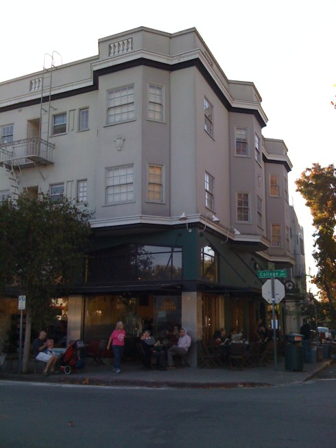 The beloved Cole Coffee, that neighbors opposed to the project constantly talk about as being endangered by a larger Safeway, is housed in this three story building on College and 63rd, across the street from Safeway.