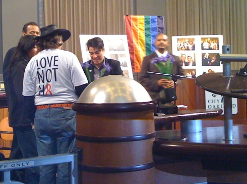 At the end of the event, Rebecca Kaplan gave flowers to all of the married same-sex couples in attendance.