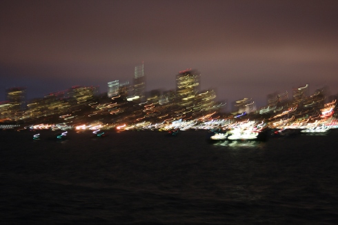 At night, it became a bit difficult to take photos. You can see the movement of the boat reflected in the lights.
