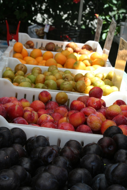 Our favorite stop at the market is Twin Girls Farm, which at this time of year is full with peaches, plums, nectarines, and pluots. They sell soft fruit for $1 a pound, which we use for smoothies and baking.